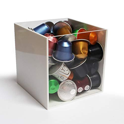 Porta capsule cubo senza coperchio bianco in plexiglass made in italy 16 cm