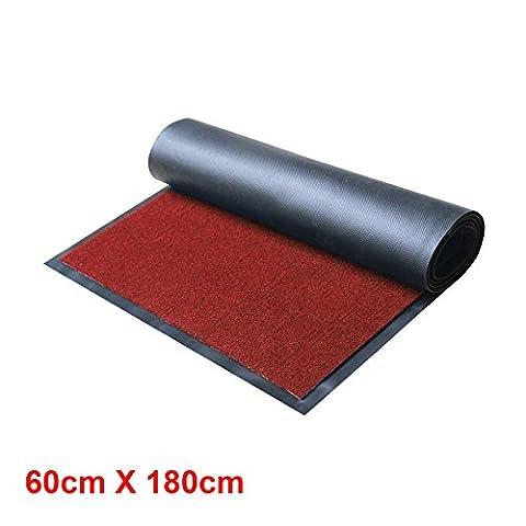 MultiWare Heavy Large Rugs Duty Barrier Slip Resistant Rubber Backed Door Floor Mat Red 60X180cm