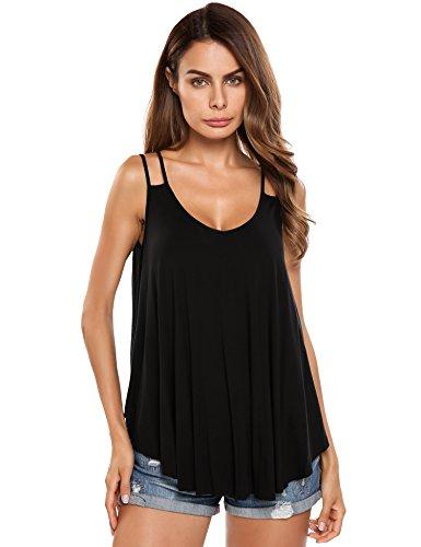 Trudge Damen Sommer Spaghetti Tops Strandkleid Trägerkleid Shirt Bluse Oberteile, Farbe: Schwarz, Gr. S (Herstellergröße: S)