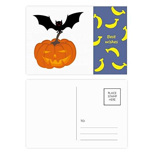 Fledermaus-Kürbis Halloween Hallowmas Banana Postkarten-Set, Danksagungskarte, Mailing-Seite, 20 Stück