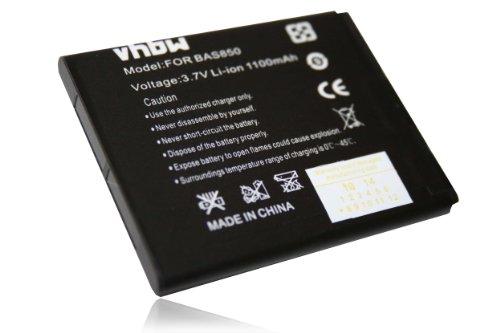 vhbw Li-Ion Akku 1100mAh (3.7V) für Handy, Smartphone, Telefon HTC A320, A320E, Golf, Desire C, 200, 200 102e wie 35H00194-00M, BA-S850, BL01100.