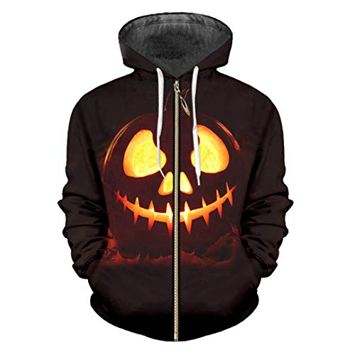 HensGalis Halloween Sports 3D gedruckte Zip Hoodies Lustiges Kürbismuster Large Size Halloween Pumpkin 5XL