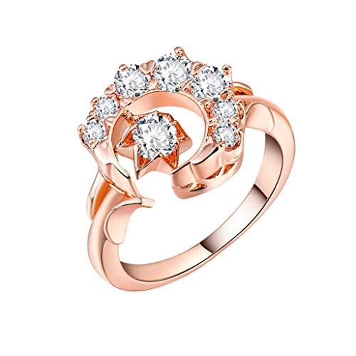 Floweworld Damen schmuck Ring edle mond Sterne diamanten Ring Elegante Freundschaft Liebe schmuck Ring