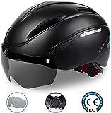 Kinglead Bike Helmets, CE Certified Adjustable Cycle Bicycle Helmet with Detachable Magnetic Goggles Visor Shield (Black)