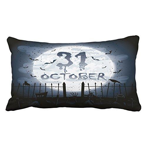 Accrocn Halloween Friedhof Szenen 31. Oktober Überwurf Kissenbezüge Kissenbezug Fall 50,8x 91,4cm Kopfkissen einseitig
