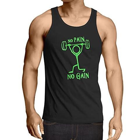 Singlete No Pain No Gain - vêtements pour le quotidien - fitness, crossfit, gymnase - sports de motivation (Medium Noir Verte)