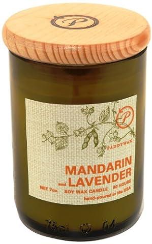Paddywax Glass Eco Green Mandarin Lavender Candle, Green