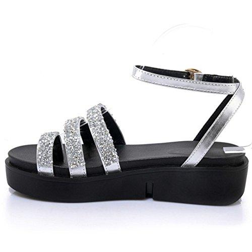 COOLCEPT Femme Mode Sangle De Cheville Sandales Plateforme Clips Shaussures Argent