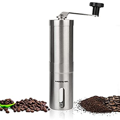 Manual Coffee Grinder, Meerveil Portable Stainless Steel Handmade Coffee Bean Machine Grinder Hand Coffee Pepper Mill for Travel, Camping, Hiking, Outdoor from Meerveil
