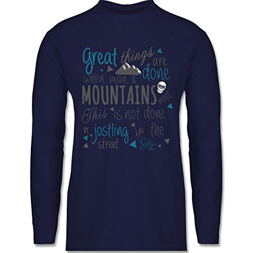 Shirtracer Après Ski - Great Things Happen Mountain - Herren Langarmshirt Navy Blau