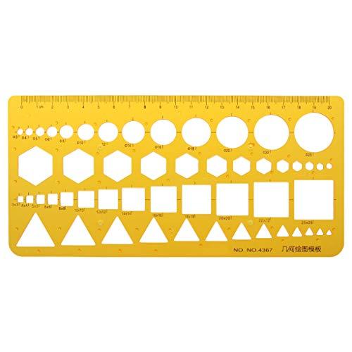 Yofo gelb K Kunstharz Geometrische Schablone Lineal Messwerkzeug für Studenten Schule Büro Schreibwaren