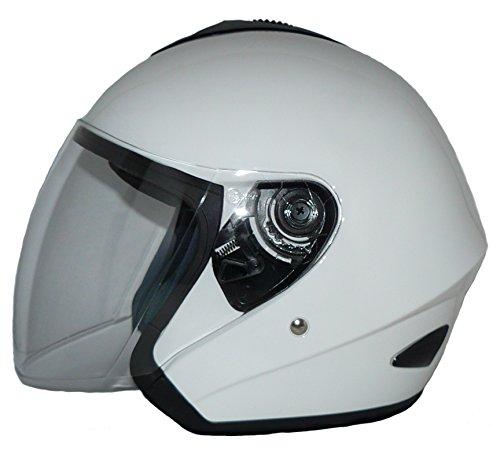 Casco de cara abierta V510 Casco de moto con visera de brillo blanco - M