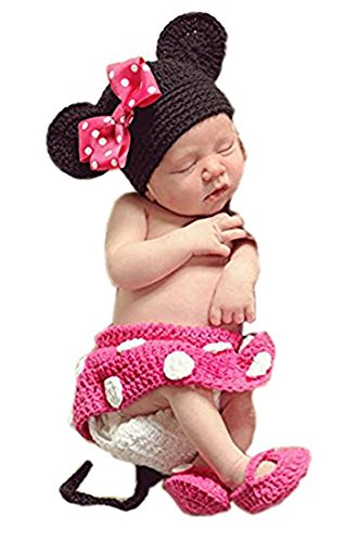 Babymoon ( SET OF 4 ) Minnie Mouse Designer ( Hat, Skirt, Shorts & Booties ) Crochet Clothing / Best Photography Prop / Baby Shower Gift