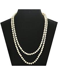 Sailimue Joyería 8mm Collares Mujer Perla Largos 140cm Regalo para mujer