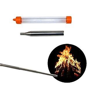 PRECORN Schlag Feuer Rohr Blasrohr Edelstahl Zündungs Werkzeug Camping Lagerfeuer Notfeuer Outdoor