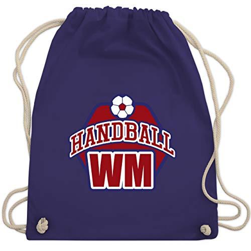 Shirtracer Handball WM 2019 - Handball WM 2019 - Unisize - Lila - WM110 - Turnbeutel und Stoffbeutel aus Bio-Baumwolle
