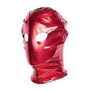 HEALIFTY Offene Augen Lackleder Maske Erotische Spielzeug Paar Sex Toys Flirten Fetisch Maske Für Sexsklavin Spiele (Rot)
