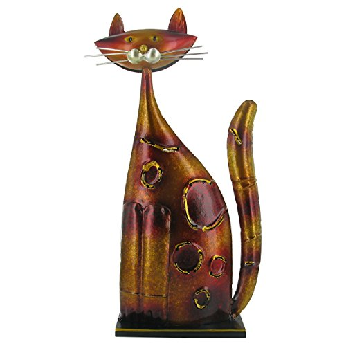 Orange Metal Cat - Sculpture, Statue, Ornament - Contemporary Home Decor by Prezents.com
