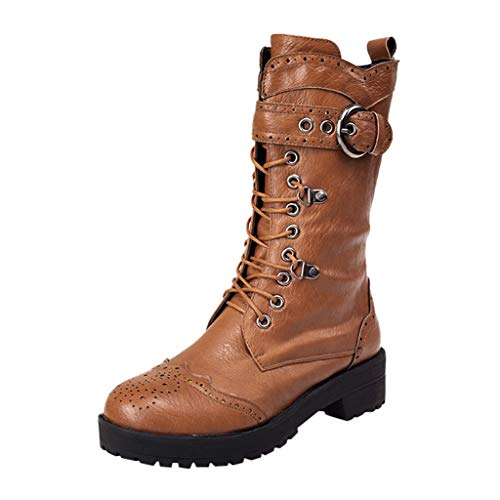 BaZhaHei Damen Schuhe Damen Retro Schuhe Leder Mittelstiefel rutschfeste Round Toe Lace-Up Stiefel Winter Warm Heels Boot Schuhe Kurze Stiefel Freizeitschuhe