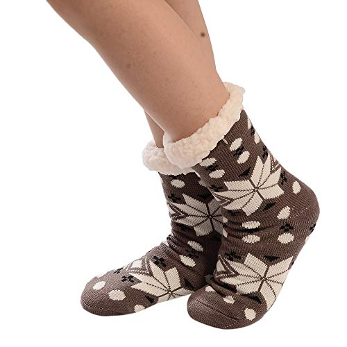 YWLINK Damen Weihnachtsdruck Frauen Baumwollsocken Dicker Anti-Rutsch-Bodysocken Teppichsocken