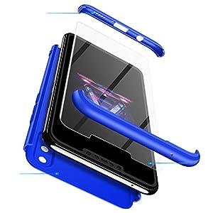 Karomenic 360 Grad Hülle + Panzerglas kompatibel mit Samsung Galaxy A40 Hart PC Schutzhülle 3 in 1 Full Body Rundumschutz Stoßfest Ganzkörper Bumper Handyhülle Hardcase Cover,Blau