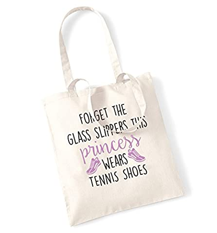 Forget the glass slippers this princess wears tennis shoes tote bag (Prince Tennis Tote)