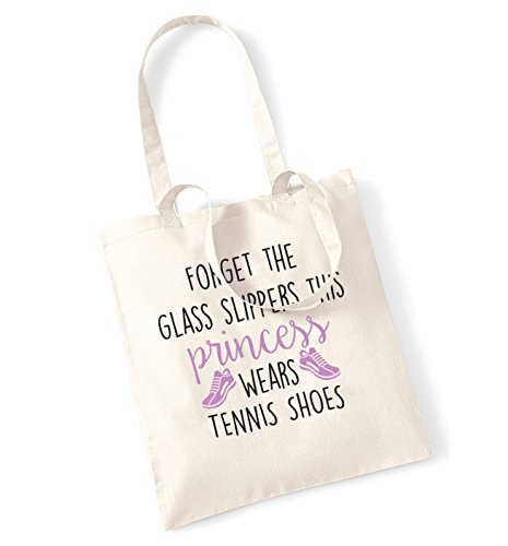 Forget the glass slippers this princess wears tennis shoes tote bag -