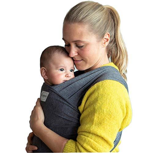 Camant Baby-Tragetuch | Babytrage aus Premium 100{9bec50fe772eac751332c4d52b2cbb6395b6ff409eb00e3d5f75926111858110} Bio-Baumwolle | Dehnbares Graues Babytragetuch aus Leinen mit Fronttasche | Trage für Neugeborene bis 1 Jahr | Geeignet für Männer
