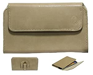 Jo Jo A4 Nillofer Belt Case Mobile Leather Carry Pouch Holder Cover Clip For Micromax Canvas 4 Beige