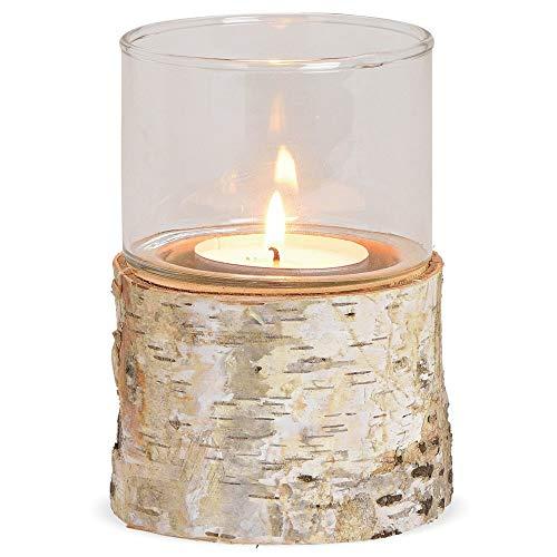 matches21 Windlicht Birkenholz mit Glasaufsatz Kerzenhalter Dekoglas & Holz Kerzenleuchter Teelichthalter - Ø 11x16 cm