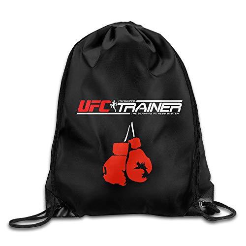 GONIESA UFC MMA Trainer Boxing Gloves Logo Drawstring Backpack Bag White