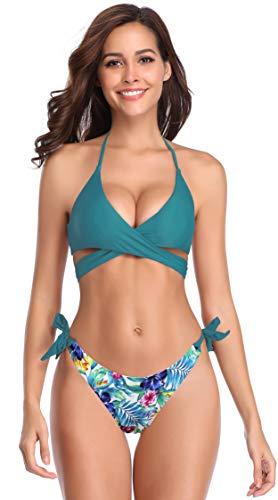 Sexy Mädchen Badeanzug (SHEKINI Damen Bademode Push Up Bikini Set Zweiteilige Badeanzug Strandkleidung Crossover Neckholder Triangel Oberteil Bandeau Strandmode Sport Split Blumen Bikinihose (X-Small, Dunkelgrün-B))