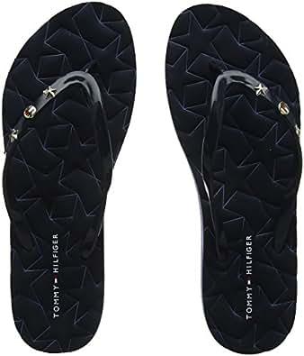 Tommy Hilfiger Metallic Star Beach Sandal, Tongs Femme, (Light Gold 708), 37 EU
