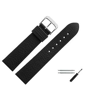 MARBURGER Uhrenarmband 19mm Leder Schwarz – Werkzeug Montage Set 5251910000120