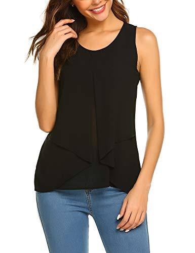 f2476fa57ded5d Beyove Damen Ärmellose Bluse Chiffon V-Ausschnitt Elegant Weste Top  Hemdbluse Doppelschicht Sommer Loose fit T Shirt (XL, B+Schwarz)