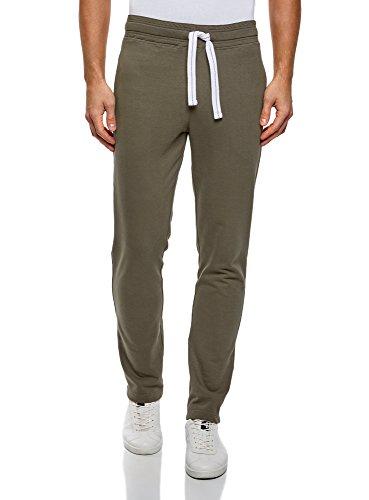 oodji Ultra Homme Pantalon Basique en Maille, Vert, S