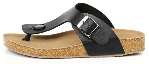 AgeeMi Shoes Unisex Slip on Offener Zeh Doppel Riemen Gummi Flats Sandalen Schwarz PU (EuL03)