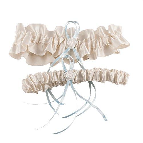 Strumpfband Rosenblüte in Creme und zartem Hellblau für die Braut - stilvoller Strumpfhalter im 2 er Set mit hübschen Accessoires als romantisches Brautaccessoire zur Hochzeit