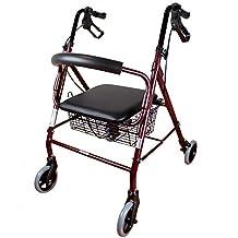 Mobiclinic Andador para Ancianos de 4 Ruedas   Aluminio Ultraligero   Plegable   con Frenos de