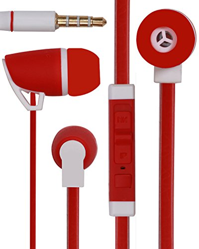 Jkobi Premium 3.5mm Designed In Ear Bud Earphones Headset Handsfree Compatible For Panasonic T41 8GB -Red  available at amazon for Rs.260