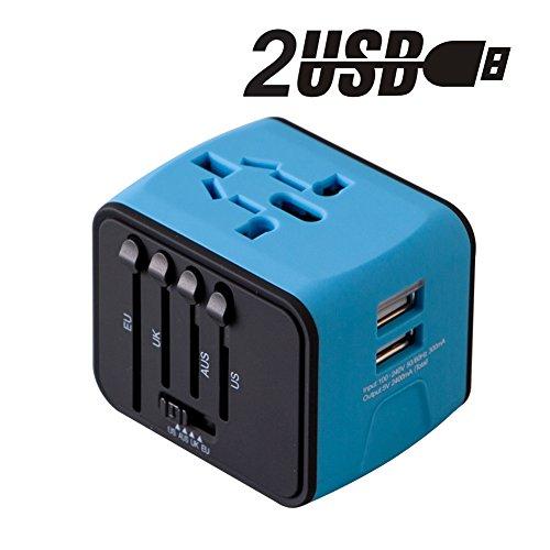 Adaptador de Viaje enchufe Universal Adaptador Cargador de Pared con doble puerto USB de 2.4A cubre más de 150 países Europa, Canadá, México, Brasil y más para dispositivos Android y IOS - Milool(Azul)