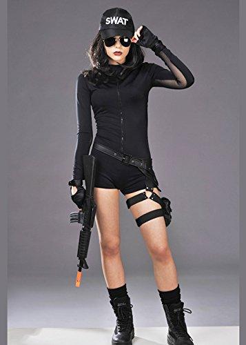 Womens Deluxe kurz SWAT Kostüm Small (UK 8-10) (Kostüm Swat Box)