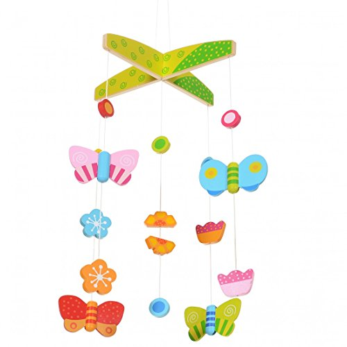LCP Kids Baby Schmetterling Mobile Holz Kinderbett Hänge Spielzeug (Baby Schmetterling Mobile)