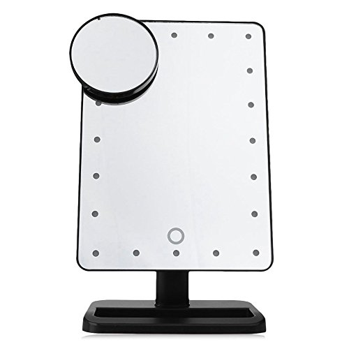 Oval Rechteckiger Tisch (KKKKOSS Rechteckiger 20 LED beleuchteter Spiegel-Touch Screen bilden Vanity batteriebetriebene Verfassungs-Spiegel - Weiß mit vergrößern)