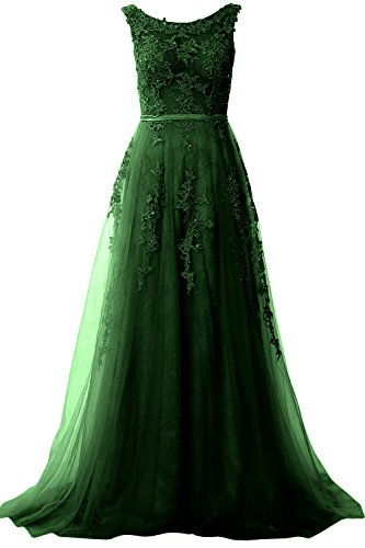 MACloth Elegant Boat Neck Lace Long Prom Dress Vintage Wedding Party Formal Gown (38, Dunkelgrun) (Sweetheart Top Neck)