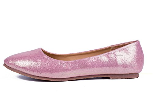 AalarDom Femme Pointu Non Talon Tire Pu Cuir Chaussures à Plat Rose