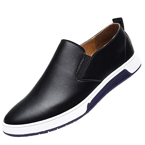 HROIJSL Männer Lässige einbeinige Wildlederschuhe Extra große Sportschuhe Flache Faule Schuhe der runden Kopfmode Herrenmode Breathable Casual Lederschuhe Round Toe Slip-On Männerschuh -