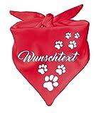 KLEINER FRATZ Hunde Dreiecks Halstuch (Fb: rot) (Gr. 2 (68 cm)) mit Ihrem Wunschtext
