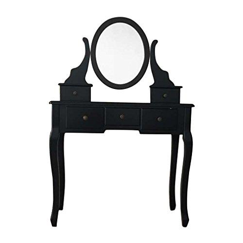 COZIME Schminktisch mit Hocker 5 Schubladen 1 Spiegel Kosmetiktisch Frisierkommode Frisiertisch set 80x40x125cm Verstellbarem Ovalen Schwenkspiegel (Schwarz)