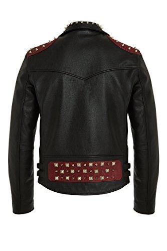 Herren Designer Fashion Biker Lederjacke, Schwarz – Rot, 100% Leder, Metal Zips and Studs, Trendy Vintage Rock Style Bikerjacke For Männer XS S M L XL XXL - 2